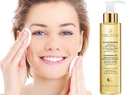 e l'Olio Detergente per viso-occhi-labbra di Collistar